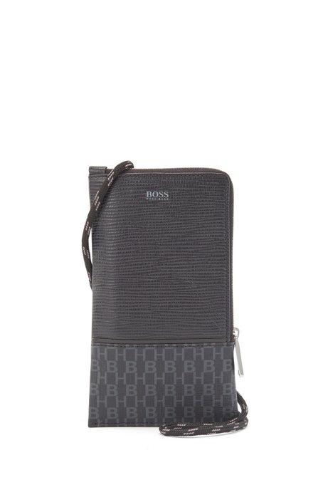Monogram-print neck pouch in coated Italian fabric, Black