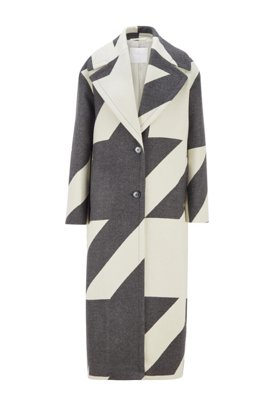 Long oversized-fit coat in virgin-wool houndstooth jacquard, Patterned