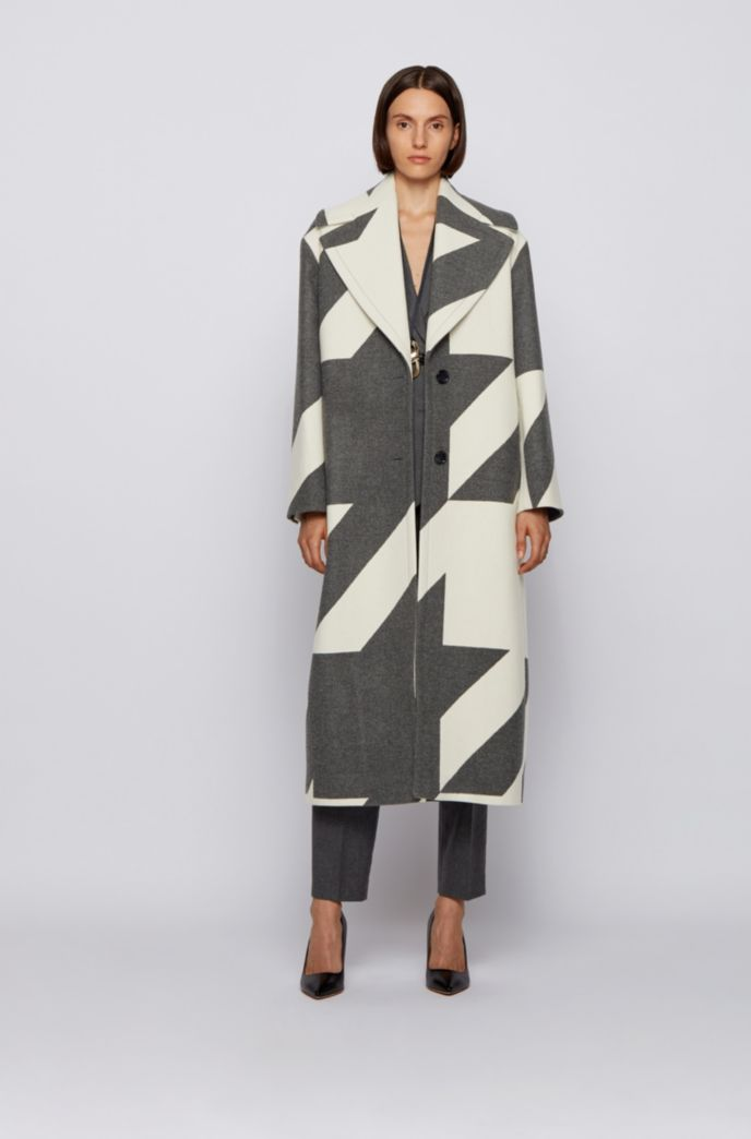 Long oversized-fit coat in virgin-wool houndstooth jacquard