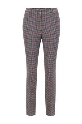 Pantalon Regular Fit en jersey stretch à carreaux, Fantaisie