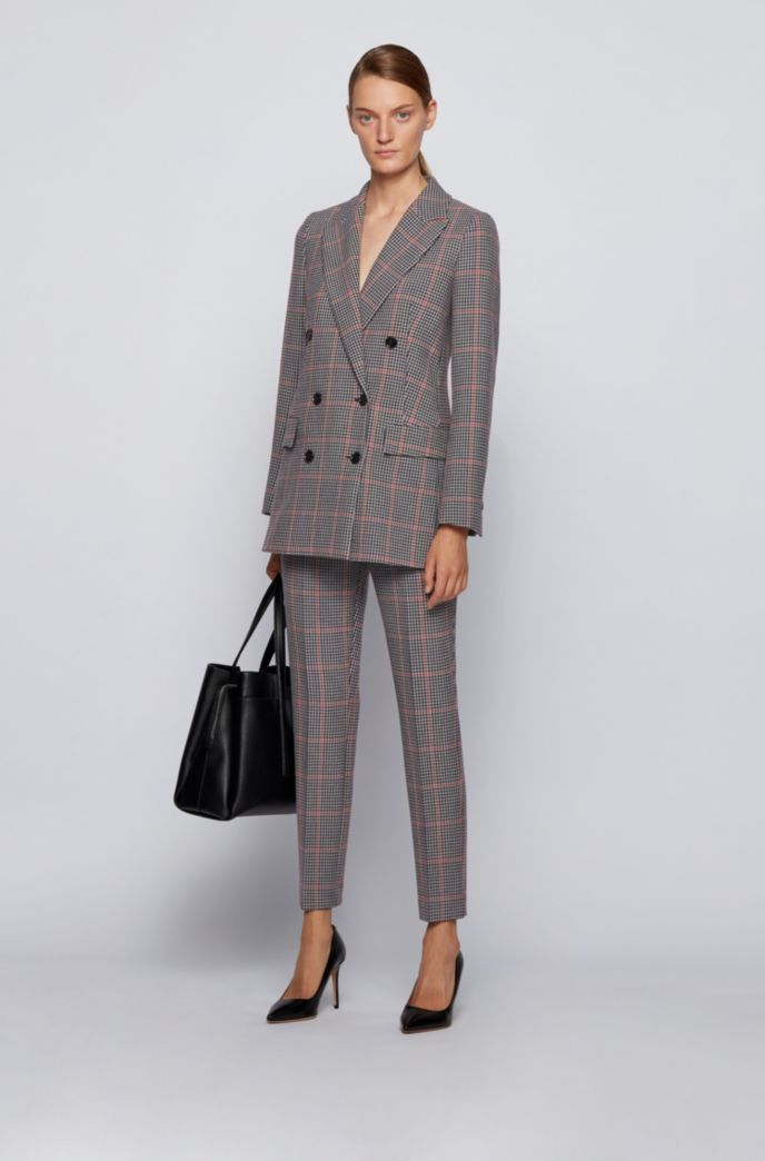 Regular-fit trousers in checked stretch jersey