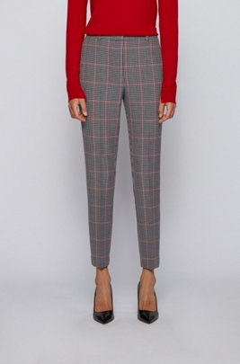 Regular-fit trousers in checked stretch jersey, Patterned