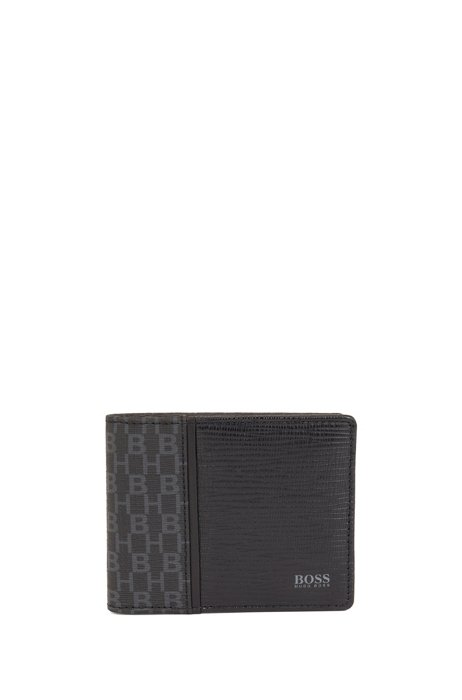 Monogram-print billfold with embossed leather trims, Black