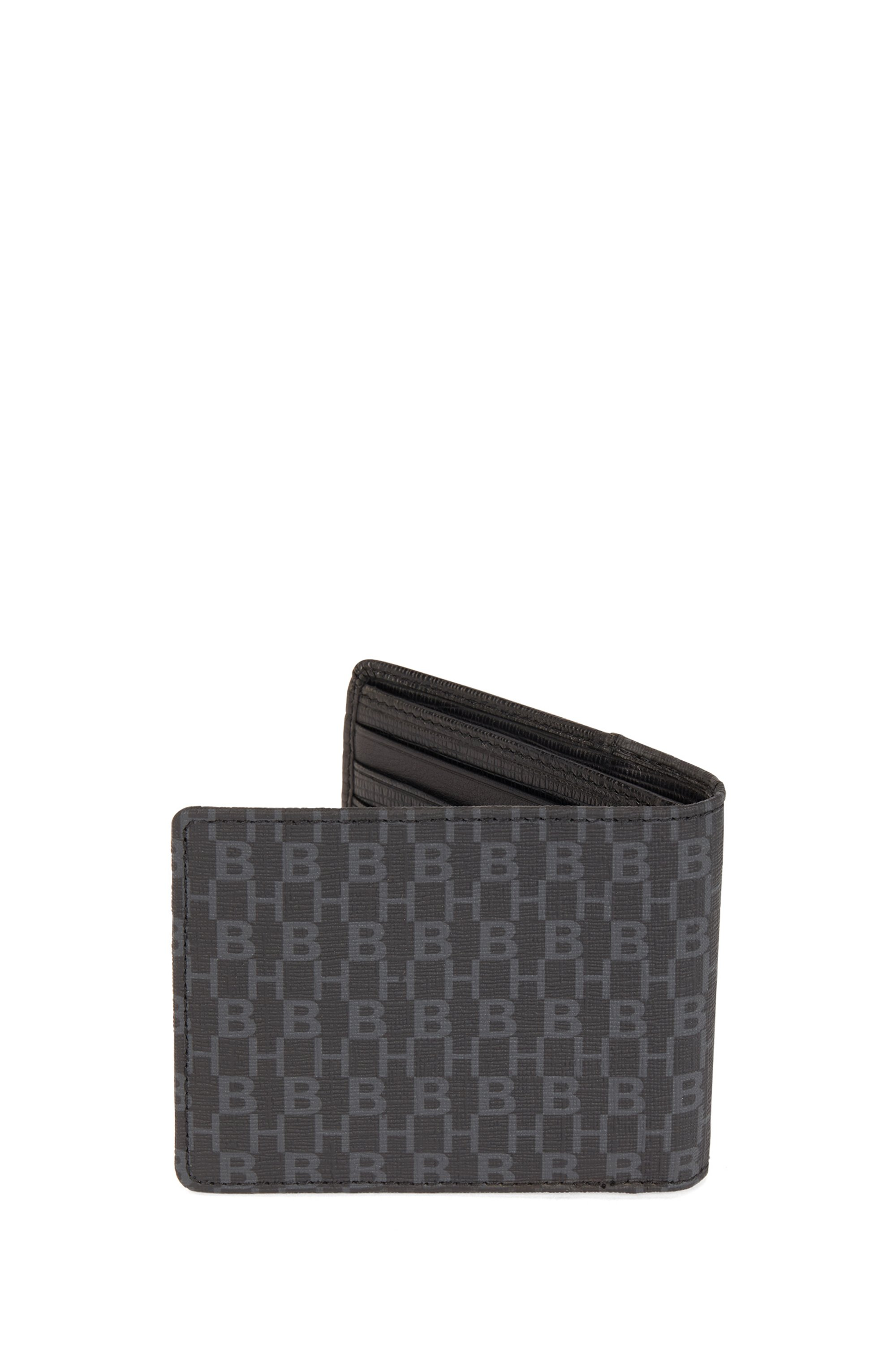 Monogram-print wallet with embossed leather trims