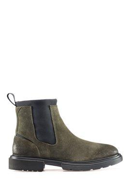 Chelsea boots in suede with neoprene detailing, Dark Green