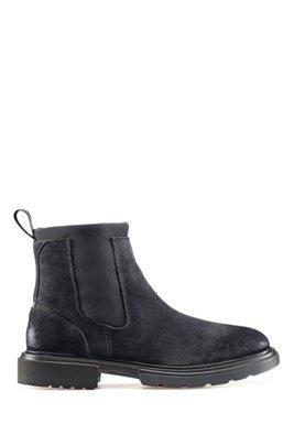 Chelsea boots in suede with neoprene detailing, Dark Blue