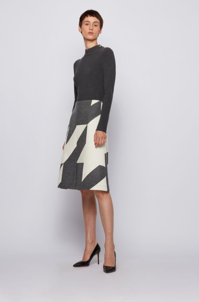 Virgin-wool skirt with large-scale houndstooth jacquard