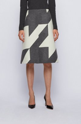 Virgin-wool skirt with large-scale houndstooth jacquard, Patterned