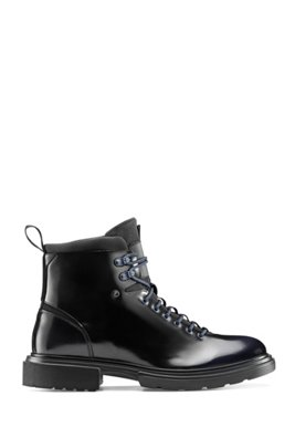 Lace-up ankle boots in brush-off leather, Dark Blue