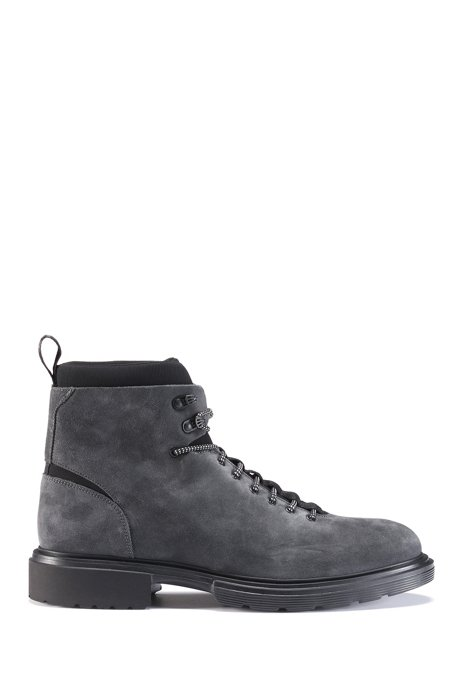 Lace-up ankle boots in suede with neoprene details, Dark Grey