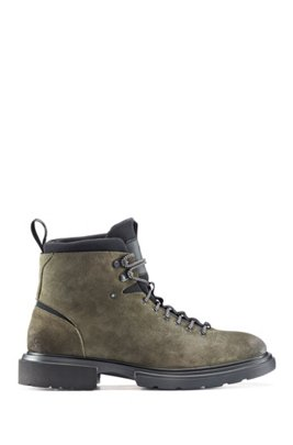 Lace-up ankle boots in suede with neoprene details, Dark Green
