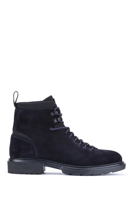 Lace-up ankle boots in suede with neoprene details, Dark Blue