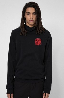 Collection-themed hoodie in Recot2® cotton, Black