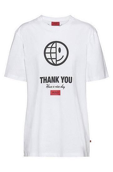 标语艺术风印花有机棉中性 T 恤,  100_白色