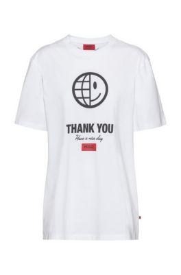 T-shirt mixte en coton biologique avec slogan et imprimés artistiques, Blanc