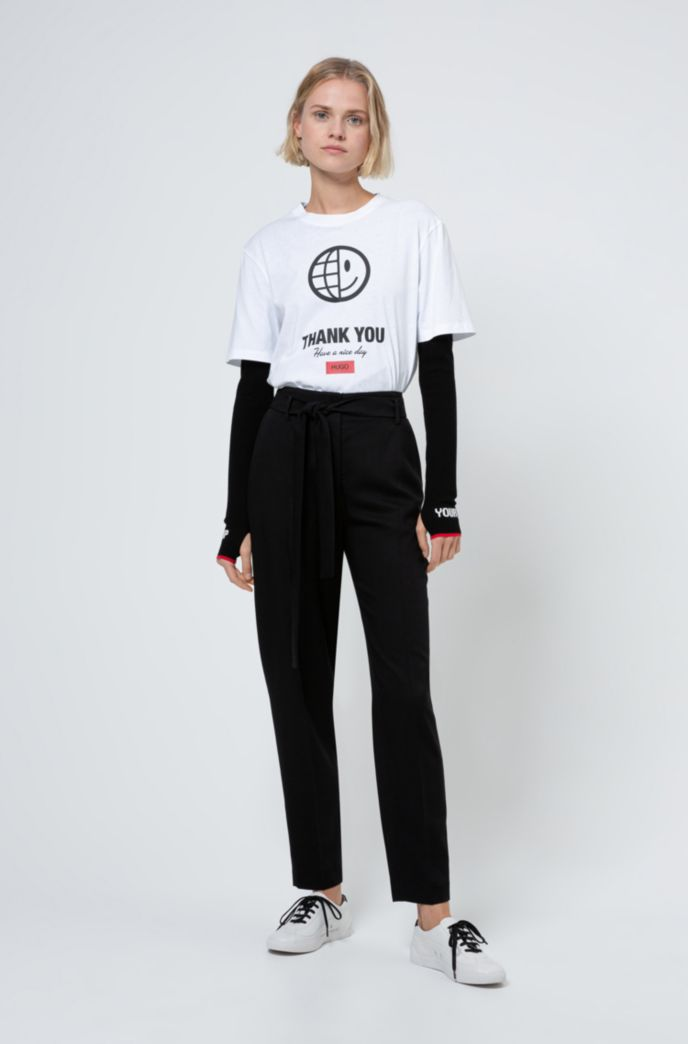 T-shirt mixte en coton biologique avec slogan et imprimés artistiques