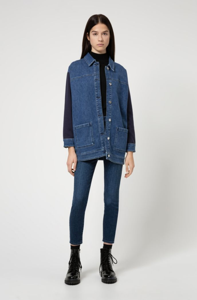 Oversized-fit denim jacket with cotton-jersey inserts