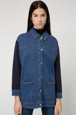 Oversized-fit denim jacket with cotton-jersey inserts, Blue