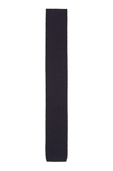 针织羊毛方头领带,  402_暗蓝色