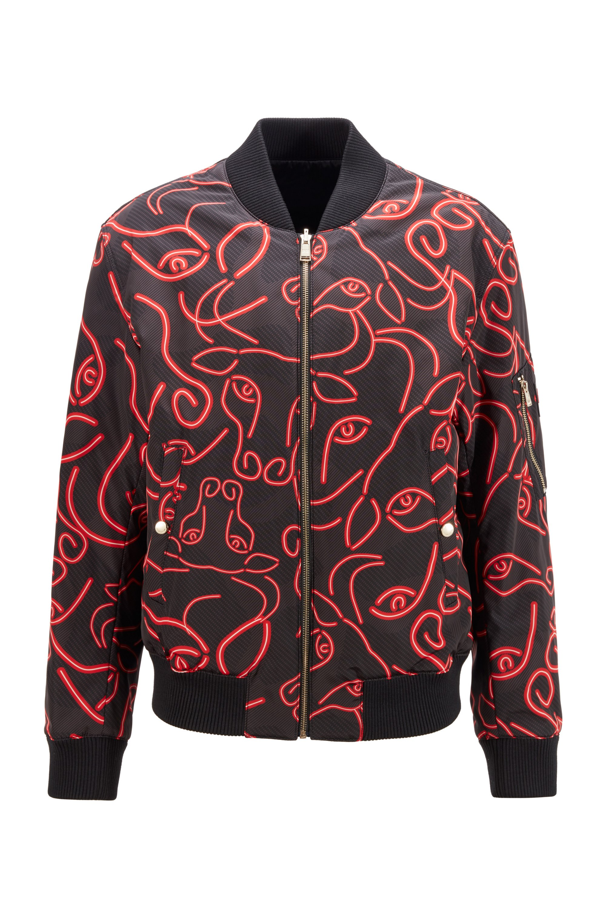 Omkeerbare jas met glanzende en ossenkopprint kant, Rood met dessin