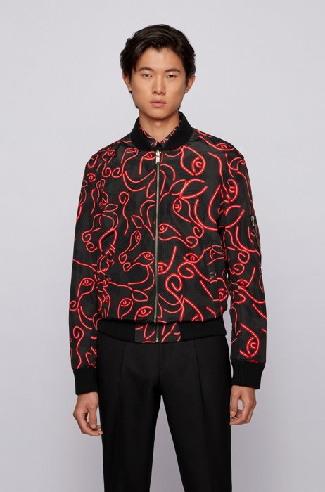 Reversible jacket with lustrous and ox-head-print sides, Black