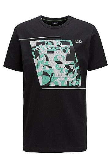 解构徽标弹力棉圆领 T 恤,  001_黑色