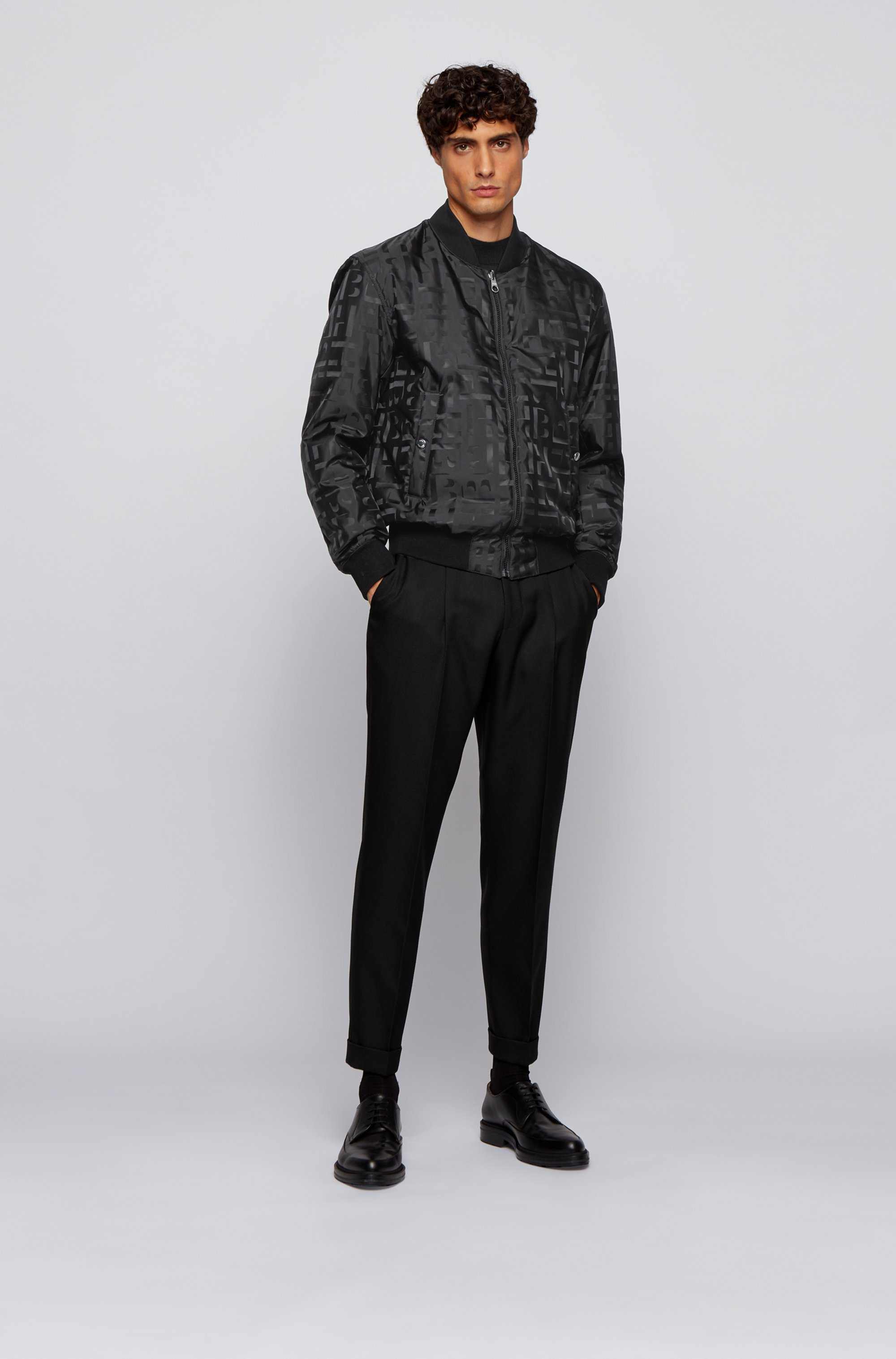 Reversible blouson jacket with all-over monograms