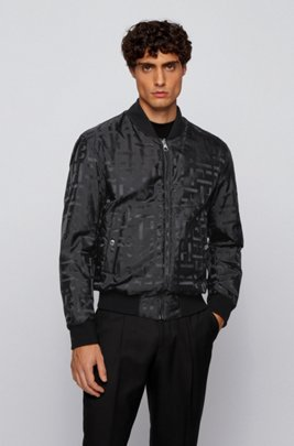 Reversible blouson jacket with all-over monograms, Black