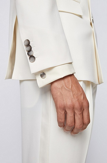 蚀刻徽标带衬里圆形袖扣,  040_银灰色