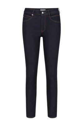 Slim-fit jeans in dark-blue comfort-stretch denim, Dark Blue