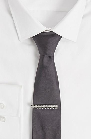 蚀刻徽标滑扣领带夹,  040_银灰色