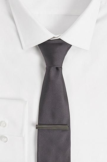 凸纹线条抛光黄铜领带夹,  021_暗灰色