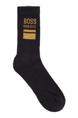 Quarter-length cotton-blend socks with square logo, Dark Blue