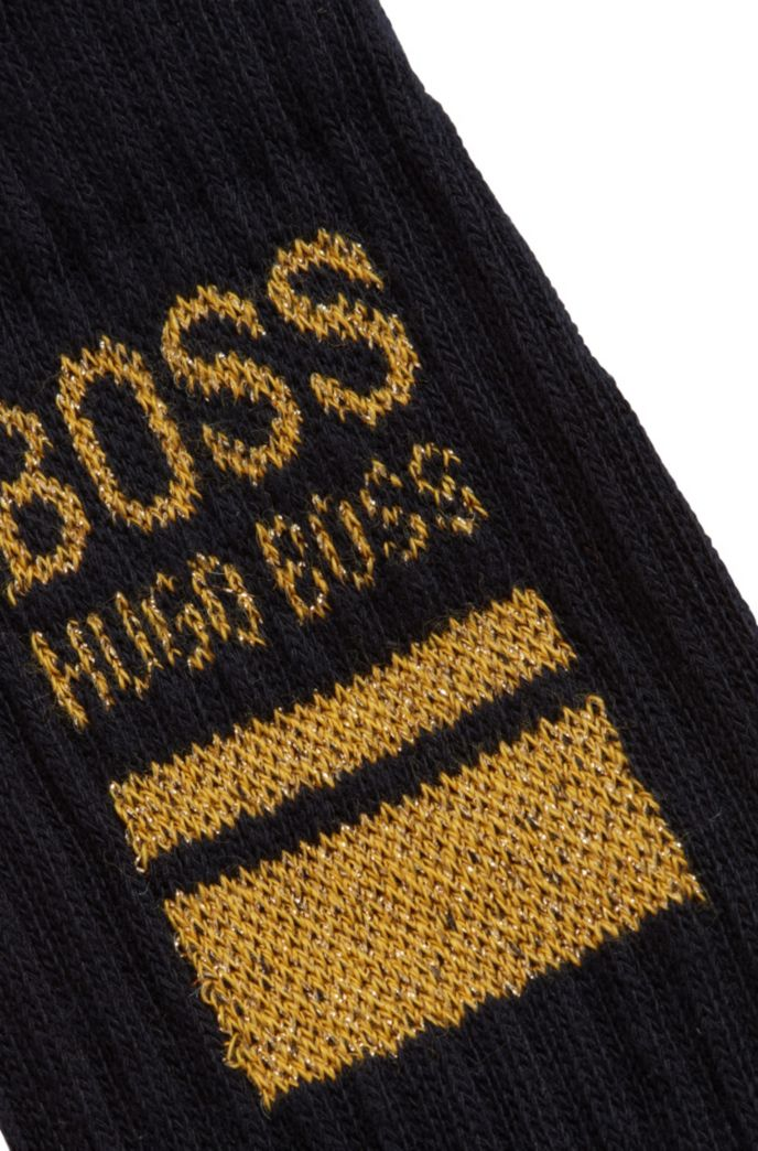 Quarter-length cotton-blend socks with square logo