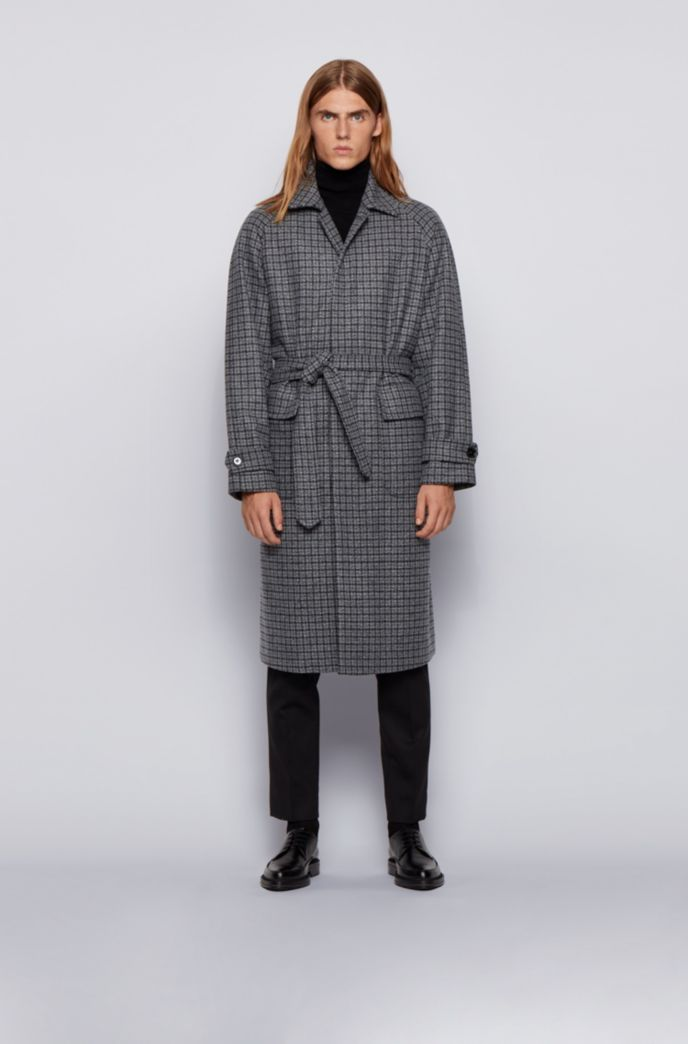 Relaxed-fit coat in a checked wool blend