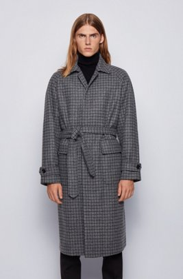 Relaxed-fit coat in a checked wool blend, Light Grey