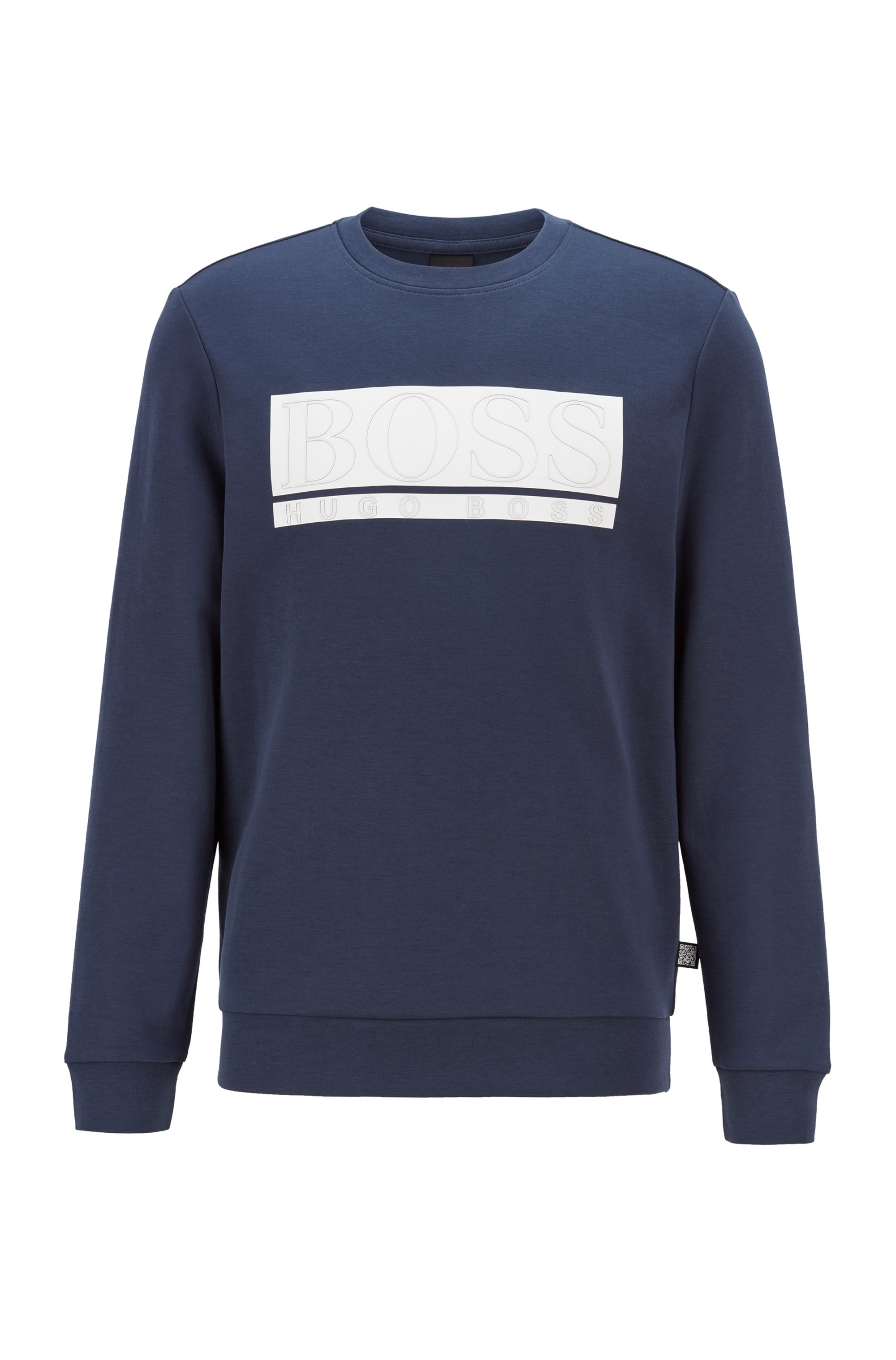 Slim-fit sweatshirt in interlock fabric with block logo, Dark Blue