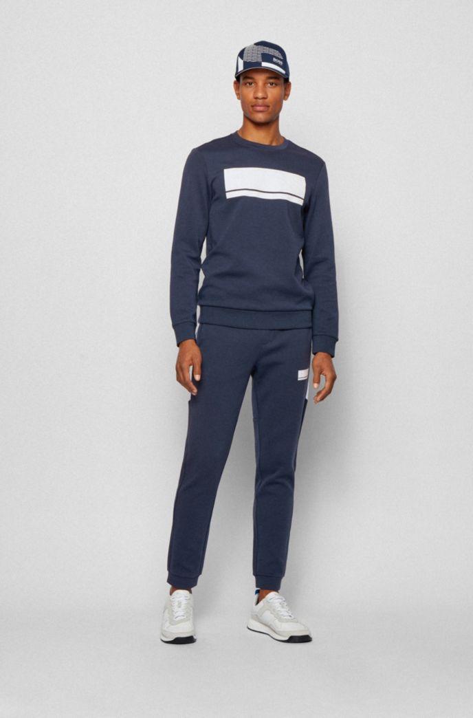Slim-fit sweatshirt in interlock fabric with block logo