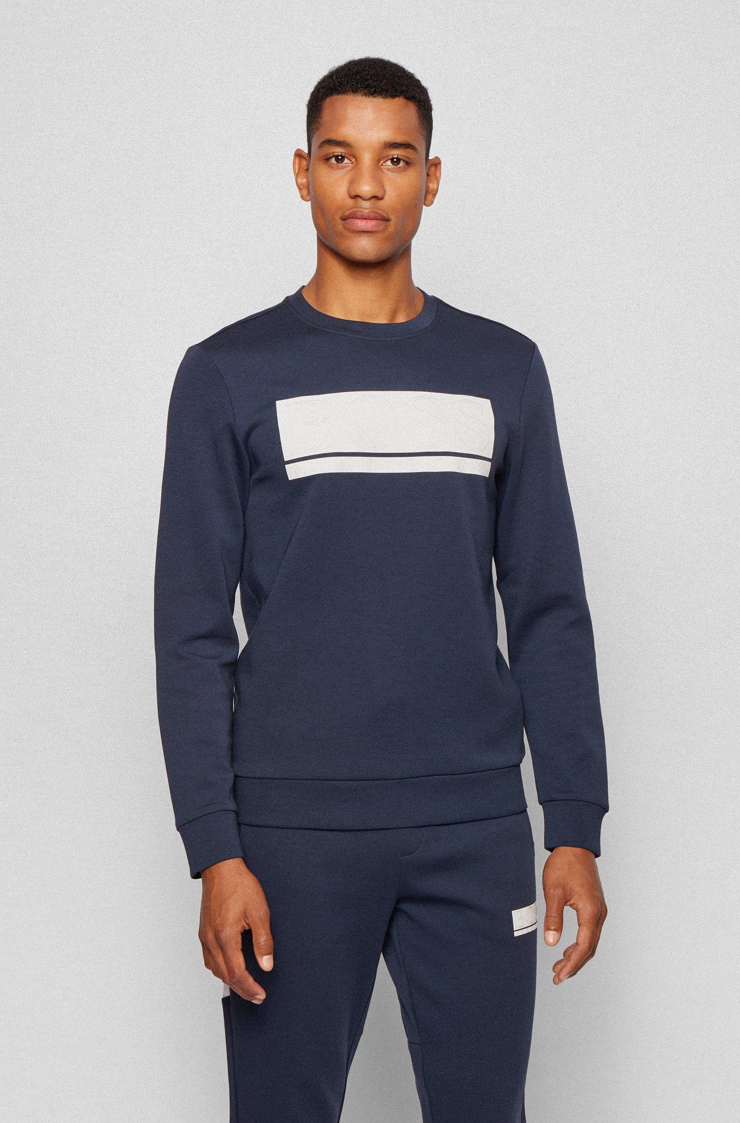 Slim-fit sweatshirt in interlock fabric with block logo, Dark Blue