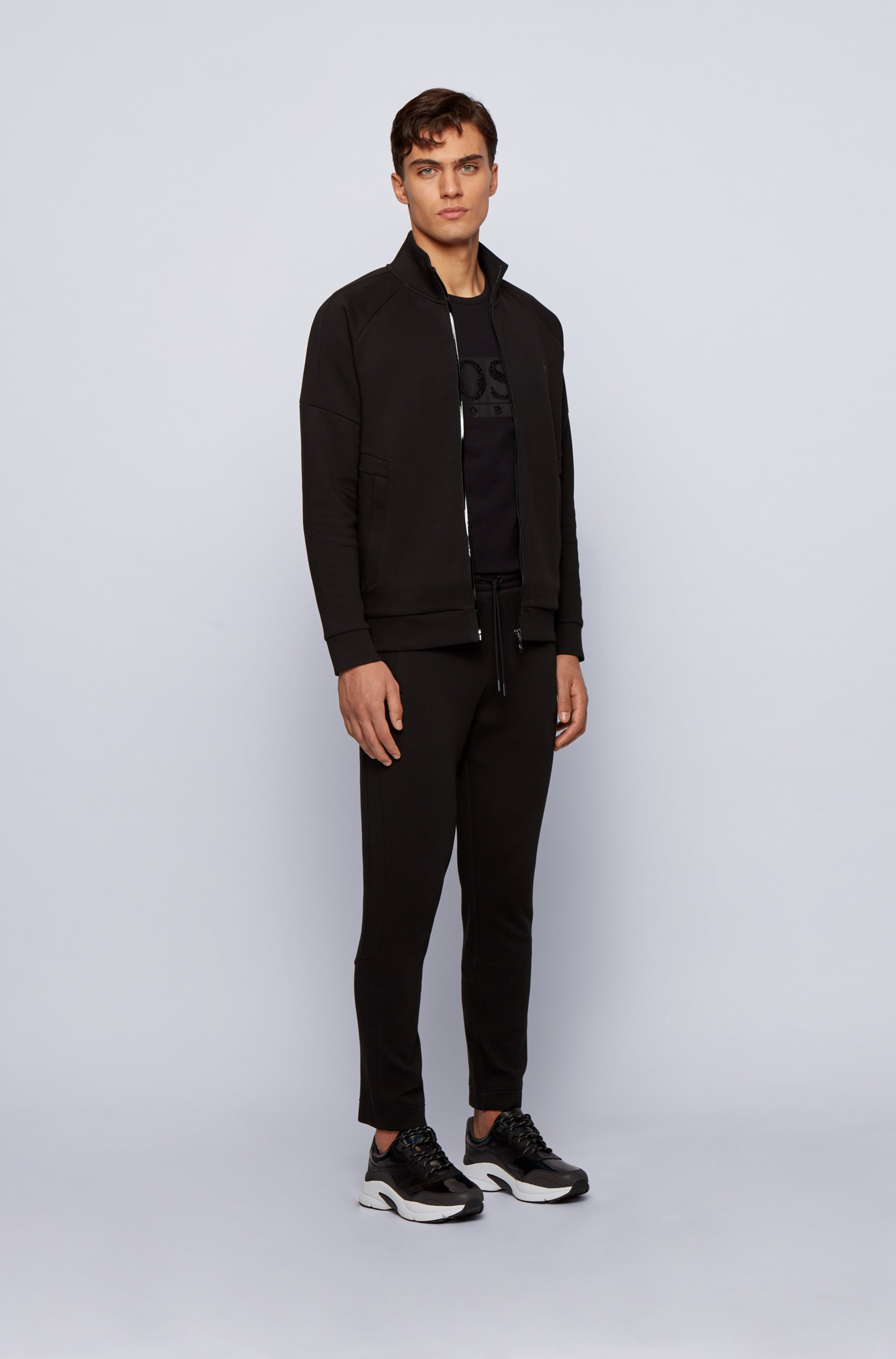 Zip-through piqué-knit sweatshirt with ox-head artwork