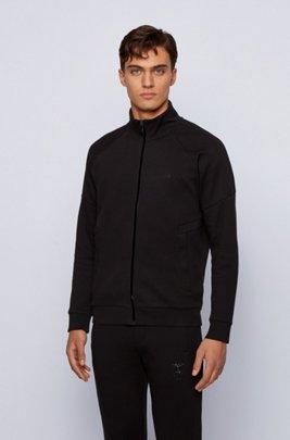 Zip-through piqué-knit sweatshirt with ox-head artwork, Black