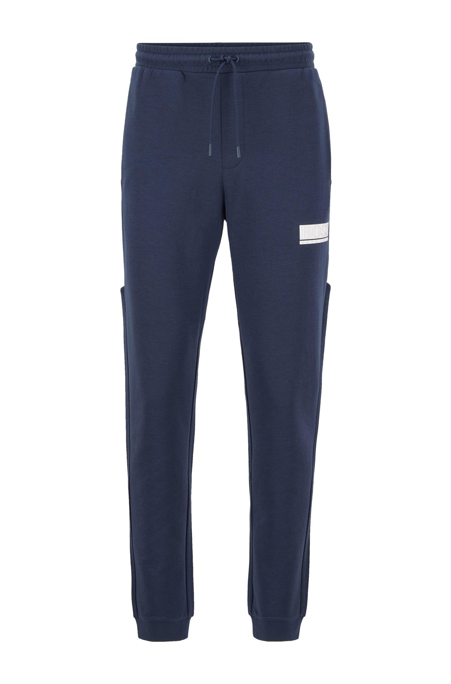 Slim-fit tracksuit bottoms with contrast stripes, Dark Blue