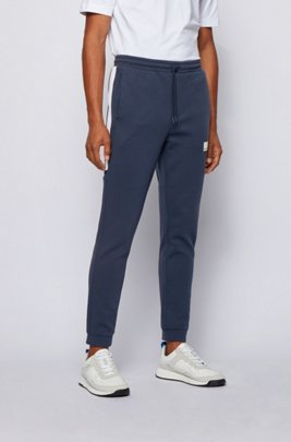Slim-fit tracksuit bottoms with contrast stripes, Dark Blue