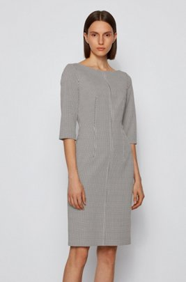Slim-fit dress in patterned stretch fabric, White