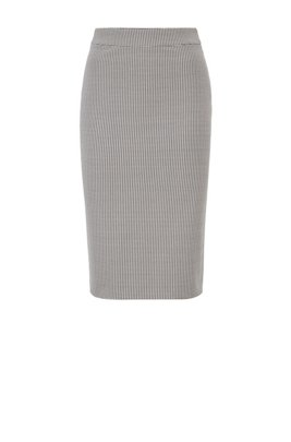 Regular-rise pencil skirt in two-tone structured fabric, White
