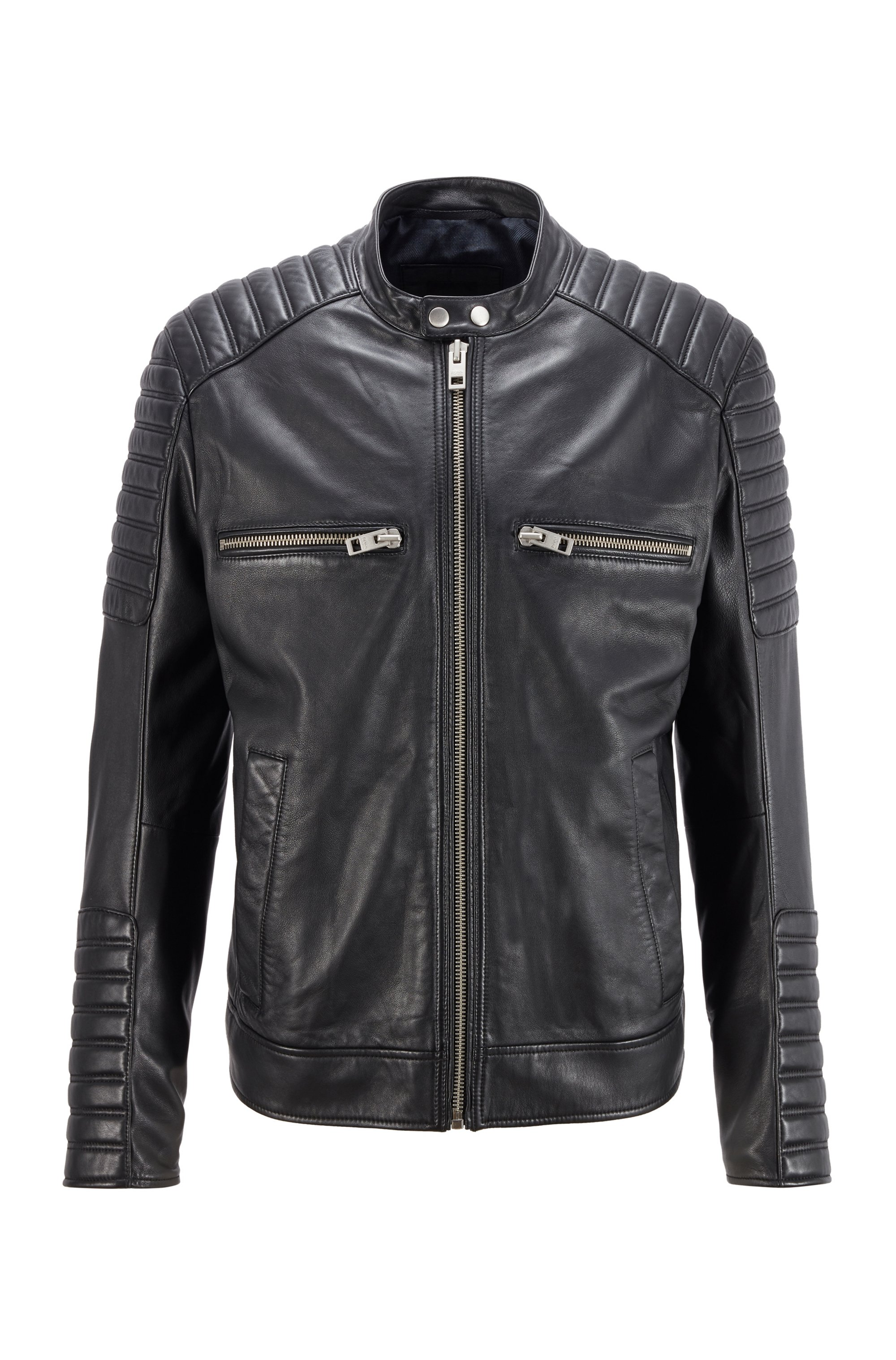 Biker-style waxed-leather jacket with quilting, Black