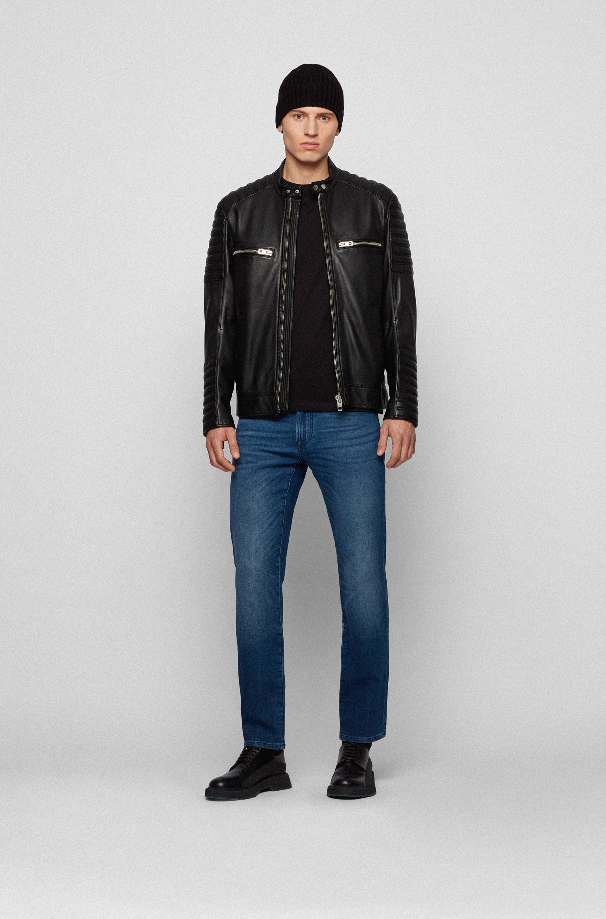 Biker-style waxed-leather jacket with quilting