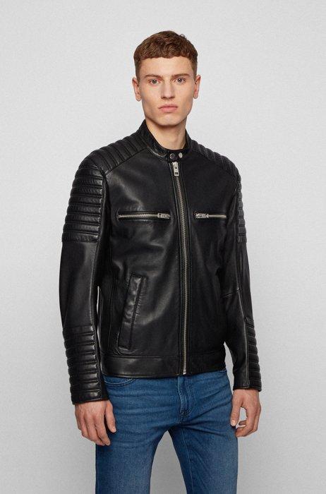 Veste en cuir ciré style motard avec matelassage, Noir