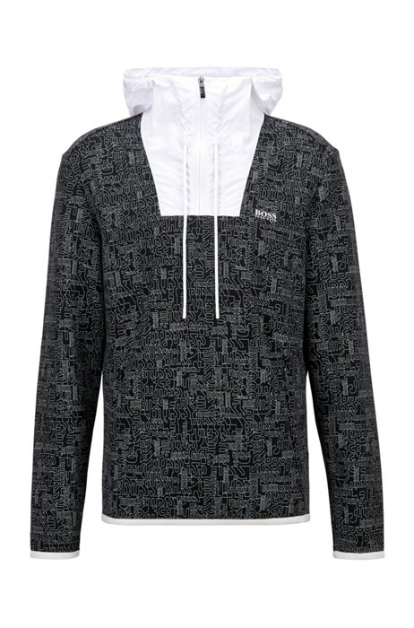 Logo-print sweatshirt with quarter zip and contrast inserts, Black Patterned