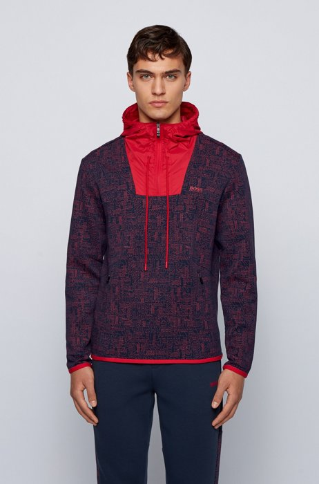 Logo-print sweatshirt with quarter zip and contrast inserts, Dark Blue
